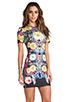 Image 3 of Clover Canyon EXCLUSIVE Turquoise Valley Neoprene Short Sleeve Dress in Black Multi