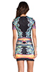 Image 4 of Clover Canyon EXCLUSIVE Turquoise Valley Neoprene Short Sleeve Dress in Black Multi