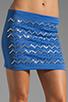 Image 4 of Clover Canyon Zig Zag Rhinestone Neoprene Skirt in Blue