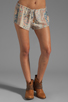 Image 1 of Chaser Vintage Tapestry Silk Drawstring Shorts in Sand Washed