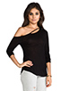 Image 2 of Chaser Deconstructed Off the Shoulder Tee in Black