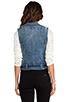 Image 4 of Current/Elliott The Sleeveless Moto in Denim Leopard Destroy