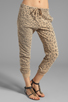 Image 1 of Current/Elliott Banded Bottom Sweat Pant in Camel Leopard