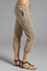 Image 2 of Current/Elliott Banded Bottom Sweat Pant in Camel Leopard