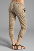 Image 3 of Current/Elliott Banded Bottom Sweat Pant in Camel Leopard