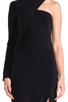 Image 4 of Cut25 by Yigal Azrouel One Shoulder Long Sleeve Gown in Jet