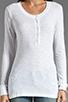 Image 3 of Daftbird Detailed Henley Long Sleeve Tee in White