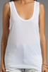 Image 3 of Daftbird Tank with Bottom Band in White