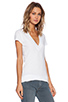 Image 2 of Daftbird Contrast Deep V Tee in White