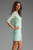 Image 3 of Dolce Vita Cat Crochet Lace Long Sleeve Dress in Mint