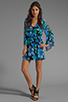 Image 2 of Dolce Vita Rexxy Hawaiian Floral Bell Sleeve Dress in Blue/Green