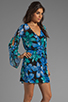 Image 3 of Dolce Vita Rexxy Hawaiian Floral Bell Sleeve Dress in Blue/Green