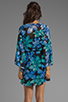 Image 4 of Dolce Vita Rexxy Hawaiian Floral Bell Sleeve Dress in Blue/Green