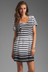 Image 1 of DV by Dolce Vita Adelaide Ascending Stripe T-Shirt Dress in Black/White
