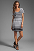 Image 2 of DV by Dolce Vita Adelaide Ascending Stripe T-Shirt Dress in Black/White