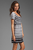 Image 3 of DV by Dolce Vita Adelaide Ascending Stripe T-Shirt Dress in Black/White