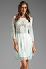 Image 1 of Dolce Vita Valentina Petticoat Embroidery Long Sleeve Dress in White/ Mint