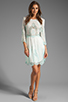 Image 2 of Dolce Vita Valentina Petticoat Embroidery Long Sleeve Dress in White/ Mint