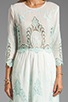 Image 5 of Dolce Vita Valentina Petticoat Embroidery Long Sleeve Dress in White/ Mint
