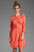 Image 1 of Dolce Vita Valentina Petticoat Embroidery Long Sleeve Dress in Melon