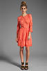Image 2 of Dolce Vita Valentina Petticoat Embroidery Long Sleeve Dress in Melon