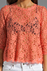 Image 3 of Dolce Vita Deidra Raised Lace Blouse in Coral