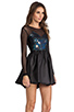 Image 3 of Donna Mizani Hologram Sweetheart Flounce Dress in Hologram