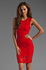 Image 1 of Donna Mizani Passion Lace Dress in Red
