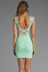 Image 4 of Donna Mizani Passion Lace Boat Neck Dress in Mint