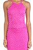Image 4 of Donna Mizani Passion Lace Racer Dress in Fuchsia