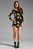 Image 2 of DRESS THE POPULATION Ellen Long Sleeve Chiffon Dress in Gold/Black
