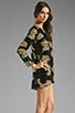 Image 3 of DRESS THE POPULATION Ellen Long Sleeve Chiffon Dress in Gold/Black