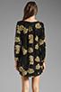Image 4 of DRESS THE POPULATION Ellen Long Sleeve Chiffon Dress in Gold/Black