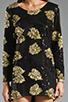 Image 5 of DRESS THE POPULATION Ellen Long Sleeve Chiffon Dress in Gold/Black