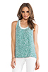 Image 1 of Diane von Furstenberg Emilia Marble Sequins Top in Green