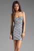 Image 1 of Eight Sixty Geo Print Strapless Dress in Multi