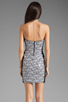 Image 4 of Eight Sixty Geo Print Strapless Dress in Multi