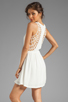 Image 1 of Eight Sixty Spider Web Back Gauze Dress in Off White