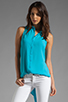 Image 1 of Eight Sixty Hi Lo Button Down Tank in Light Blue