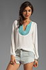 Image 1 of Eight Sixty Beaded Blouse in White