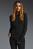 Image 1 of Enza Costa Cashmere Fitted Cuffed Crew Neck Sweater in Charcoal
