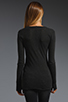 Image 3 of Enza Costa Cashmere Fitted Cuffed Crew Neck Sweater in Charcoal