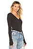 Image 2 of Enza Costa Cashmere Fitted Cuffed V Neck Sweater in Charcoal