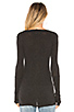 Image 3 of Enza Costa Cashmere Fitted Cuffed V Neck Sweater in Charcoal