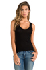 Image 1 of Enza Costa Silk Rib Baseball Tank in Black