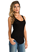 Image 2 of Enza Costa Silk Rib Baseball Tank in Black