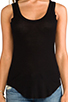 Image 4 of Enza Costa Silk Rib Baseball Tank in Black