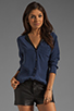 Image 1 of Equipment Keira with Contrast Lapel Blouse in Peacoat