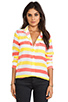 Image 1 of Equipment Cabana Stripe Slim Signature Blouse in Blazing Yellow/Coral