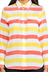 Image 4 of Equipment Cabana Stripe Slim Signature Blouse in Blazing Yellow/Coral